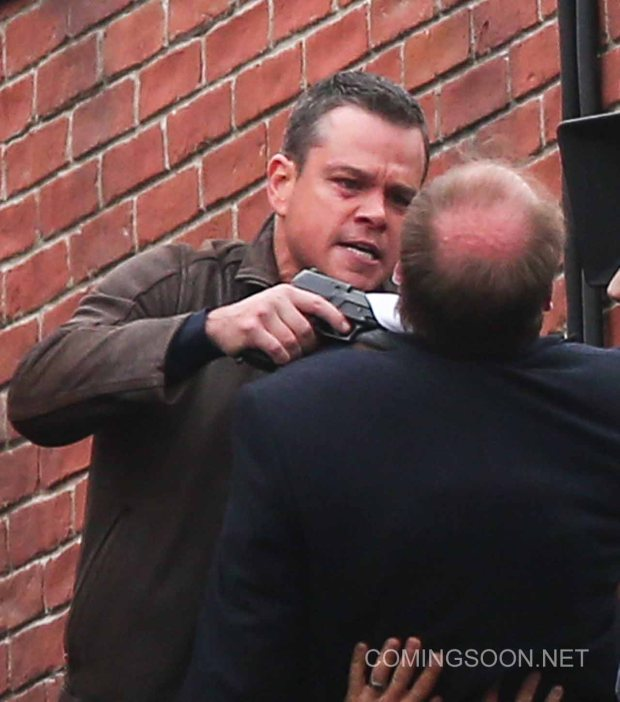 Matt Damon films a scene on a London rooftop for the latest movie in the Bourne franchise Featuring: Matt Damon Where: London, United Kingdom When: 10 Nov 2015 Credit: WENN.com
