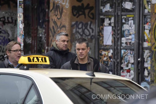 Matt Damon filming the 5th installment of the Bourne series with German action actor Vinzenz Kiefer in Kreuzberg which doubles for Prenzlauer Berg. Featuring: Matt Damon Where: Berlin, Germany When: 25 Nov 2015 Credit: WENN.com
