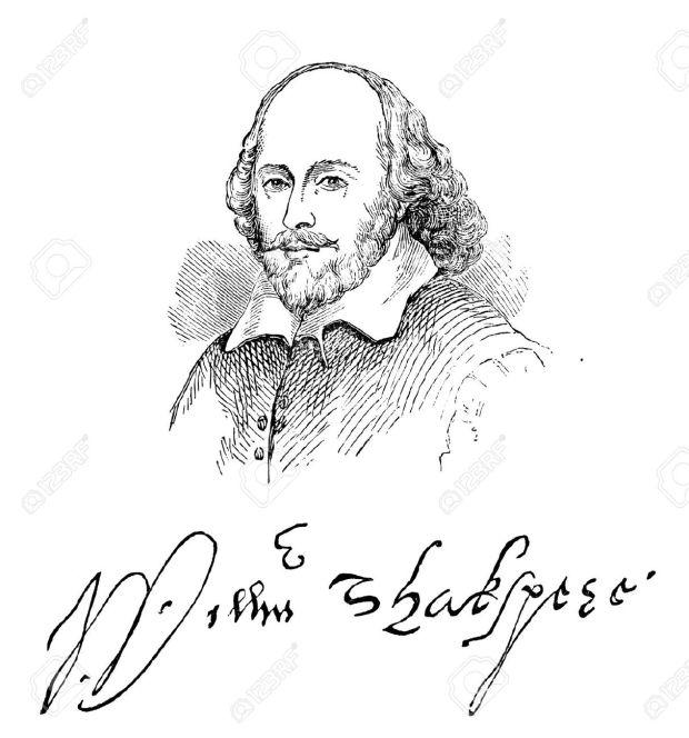 13537967-Una-ilustraci-n-grabada-la-imagen-del-dramaturgo-isabelino-William-Shakespeare-y-su-firma-de-un-libr-Foto-de-archivo
