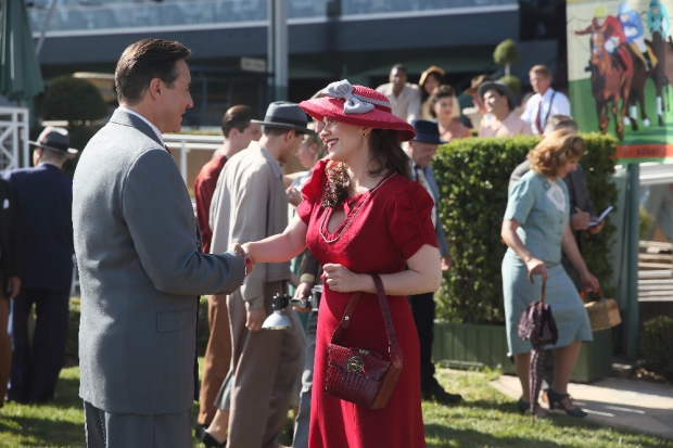 """MARVEL'S AGENT CARTER - """"The Lady in the Lake"""" - In the season premiere episode, """"The Lady in the Lake,"""" Peggy moves to the City of Angels to help Chief Daniel Sousa at the West Coast Strategic Scientific Reserve (SSR) investigate a bizarre homicide involving an alleged killer and Isodyne Energy, and reunites with some familiar faces. """"Marvel's Agent Carter"""" returns for a second season of adventure and intrigue, starring Hayley Atwell in the titular role of the unstoppable agent for the SSR (Strategic Scientific Reserve), TUESDAY, JANUARY 19 (9:00-10:00 p.m. EST) on the ABC Television Network. (ABC/Patrick Wymore) CURRIE GRAHAM, HAYLEY ATWELL"""