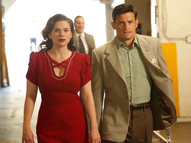 """MARVEL'S AGENT CARTER - """"The Lady in the Lake"""" - In the season premiere episode, """"The Lady in the Lake,"""" Peggy moves to the City of Angels to help Chief Daniel Sousa at the West Coast Strategic Scientific Reserve (SSR) investigate a bizarre homicide involving an alleged killer and Isodyne Energy, and reunites with some familiar faces. """"Marvel's Agent Carter"""" returns for a second season of adventure and intrigue, starring Hayley Atwell in the titular role of the unstoppable agent for the SSR (Strategic Scientific Reserve), TUESDAY, JANUARY 19 (9:00-10:00 p.m. EST) on the ABC Television Network. (ABC/Kelsey McNeal) HAYLEY ATWELL, ENVER GJOKAJ"""