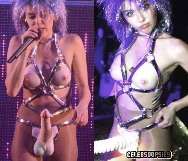 Miley Cyrus HOT! Performs Topless While Wearing A Strap On Penis